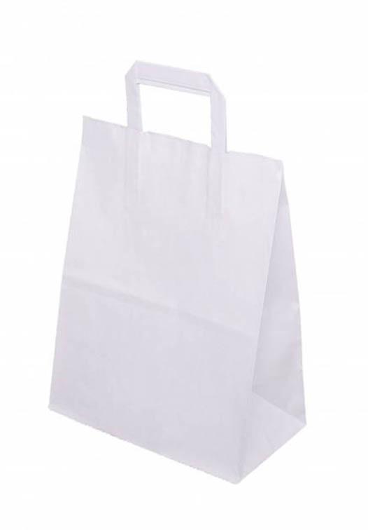 Torba papierowa z płaskim uchwytem - biała